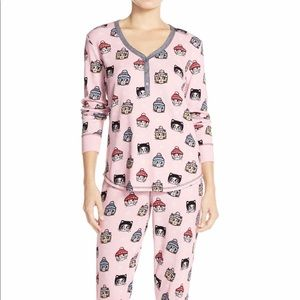 PJ Salvage Pink Cat Thermal Pajamas Size Small